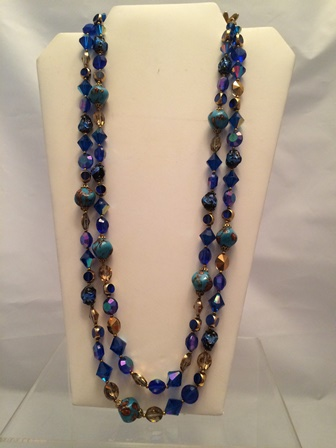 blue strung necklace crystal dizzledesigns leather hand product quartz deerskin glass and